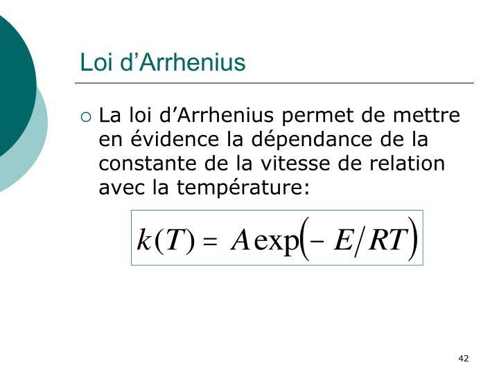 Loi d'Arrhenius