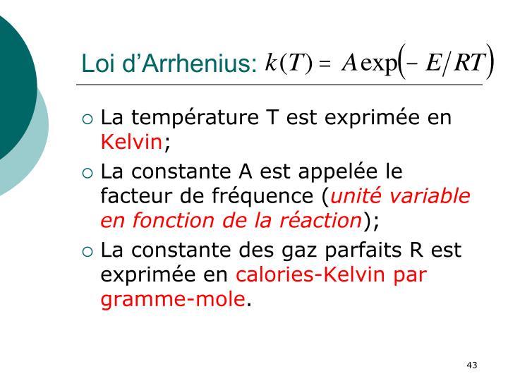 Loi d'Arrhenius: