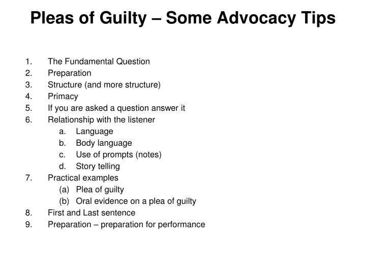 pleas of guilty some advocacy tips
