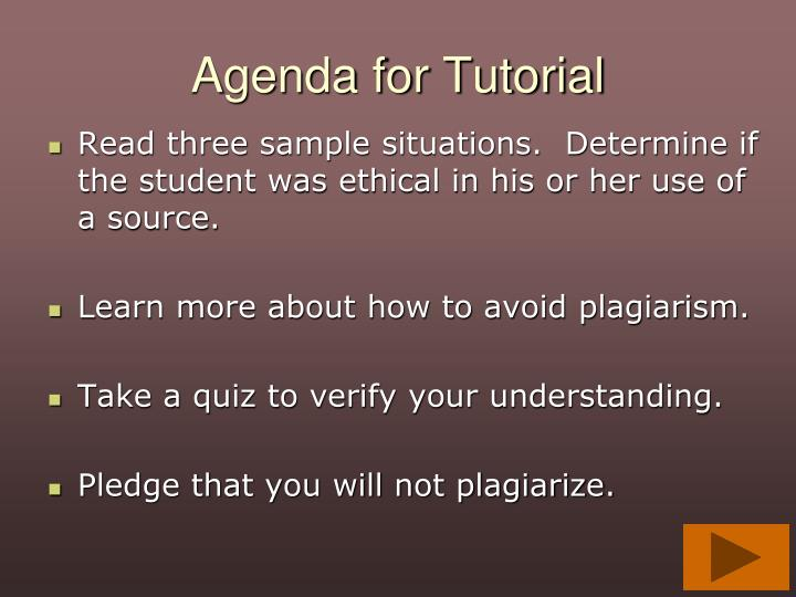 Agenda for tutorial