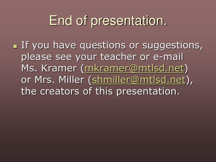 End of presentation.