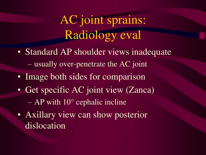 AC joint sprains: