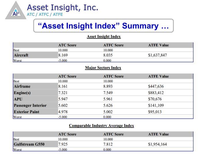 """""""Asset Insight Index"""" Summary …"""