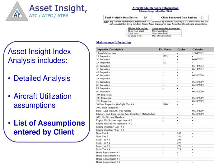 Asset Insight Index Analysis includes: