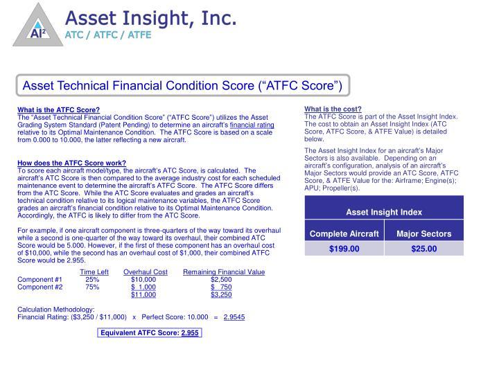 """Asset Technical Financial Condition Score (""""ATFC Score"""")"""