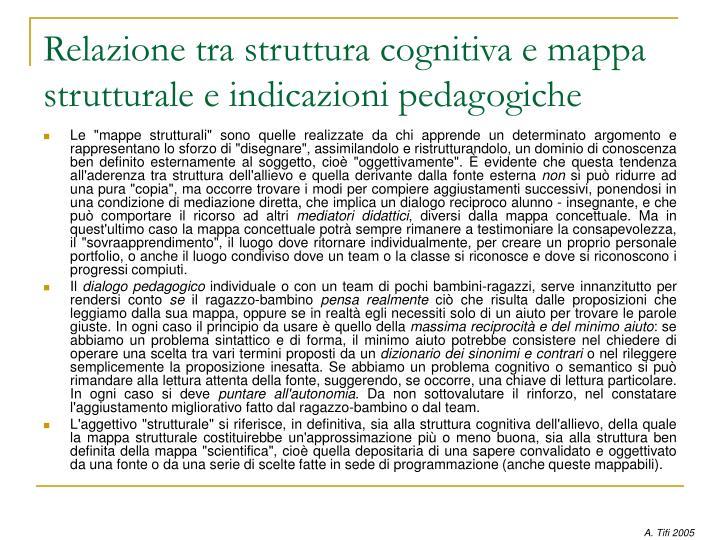 Relazione tra struttura cognitiva e mappa strutturale e indicazioni pedagogiche