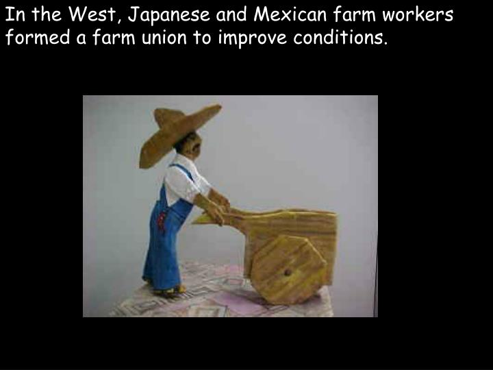 In the West, Japanese and Mexican farm workers formed a farm union to improve conditions.