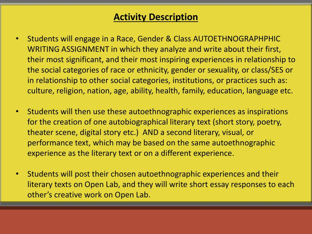 PPT - From Autoethnography to Autobiographical Literature
