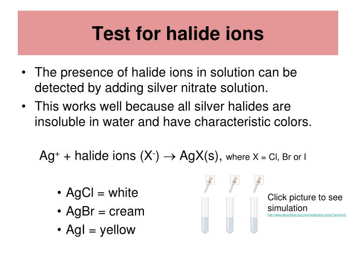 halide ions Metal ions and hydrogen ions are positively charged if a halide solution is very dilute (eg nacl), then oxygen will be given off instead of the halogen.