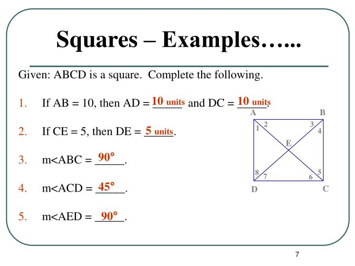 Squares – Examples…...
