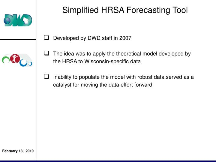 Simplified HRSA Forecasting Tool