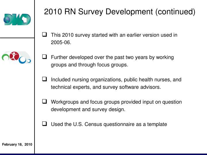 2010 RN Survey Development (continued)