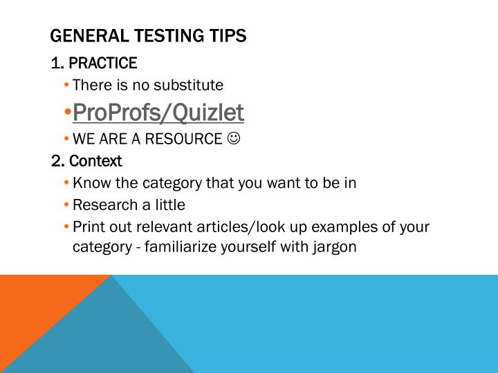 General testing tips