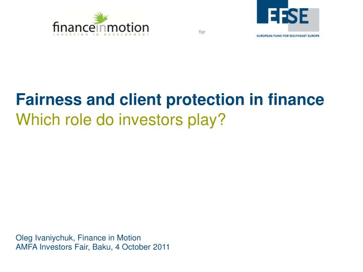 fairness and client protection in finance n.