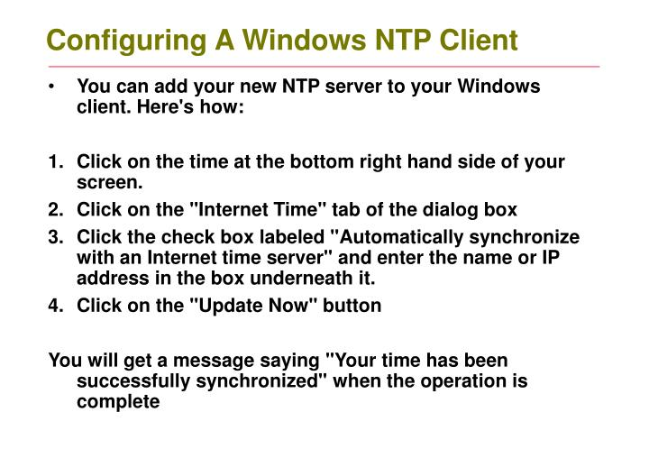 Configuring A Windows NTP Client