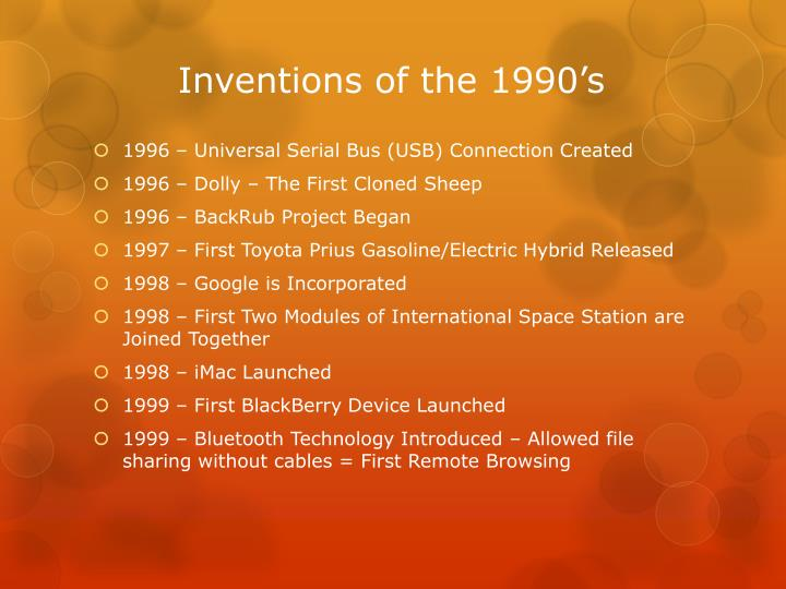 Inventions of the 1990's