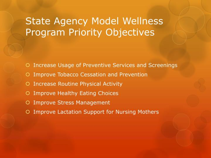 State Agency Model Wellness Program Priority Objectives
