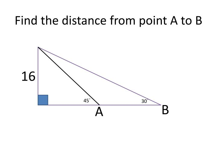 Find the distance from point A to B