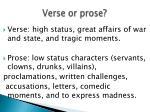 verse or prose
