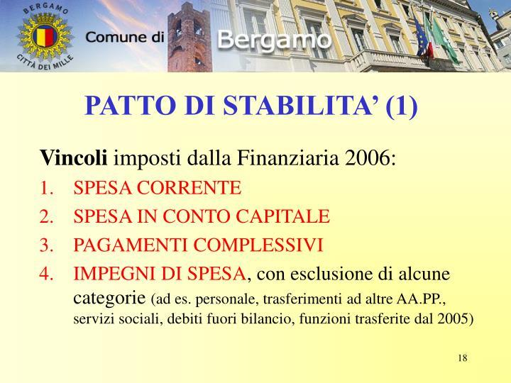 PATTO DI STABILITA' (1)