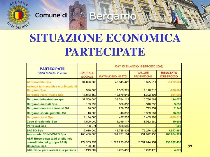 SITUAZIONE ECONOMICA PARTECIPATE