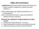 v tky v i oral history