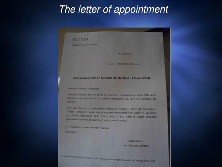 The letter of appointment