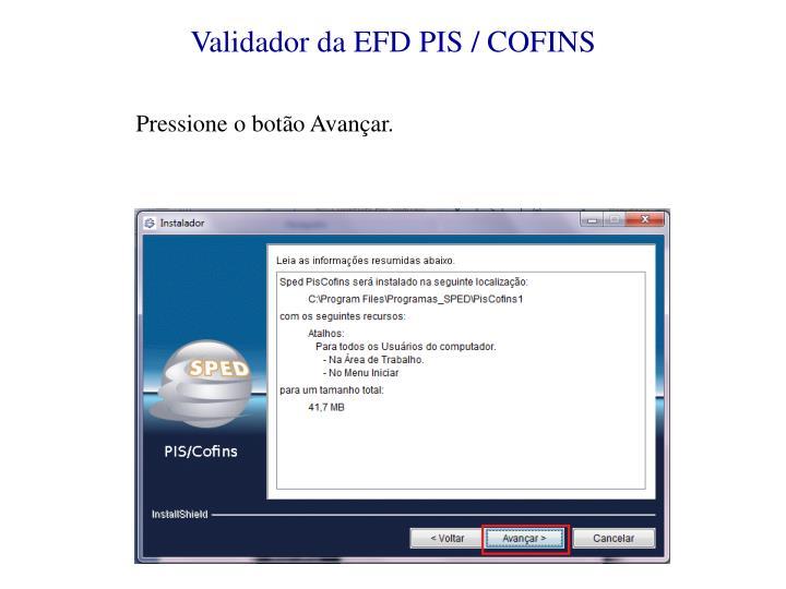 Validador da EFD PIS / COFINS