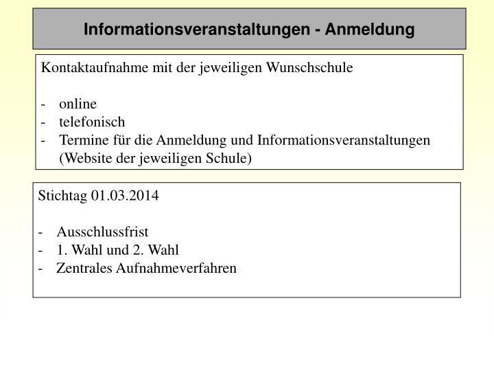 Informationsveranstaltungen - Anmeldung