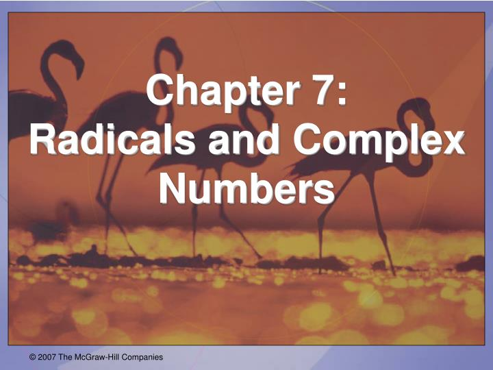 chapter 7 radicals and complex numbers n.