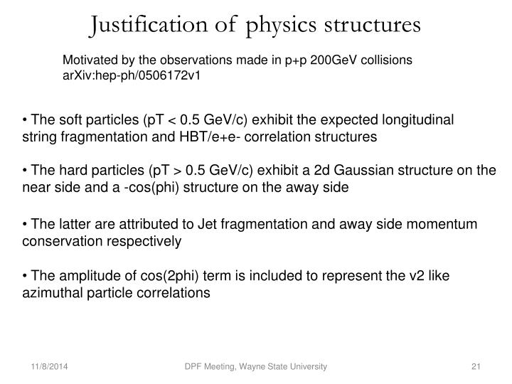 Justification of physics structures