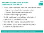 recommendations for future work dependent on pilot results