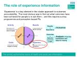 the role of experience information