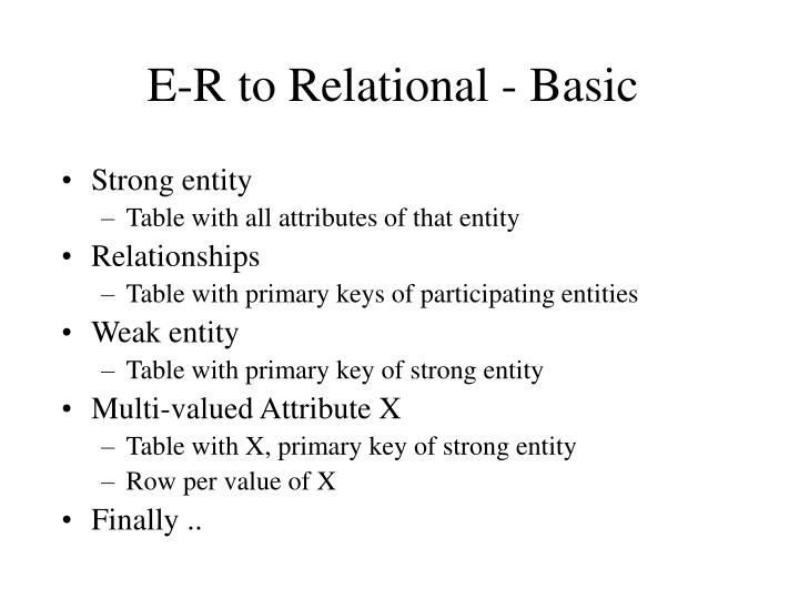 e r to relational basic n.