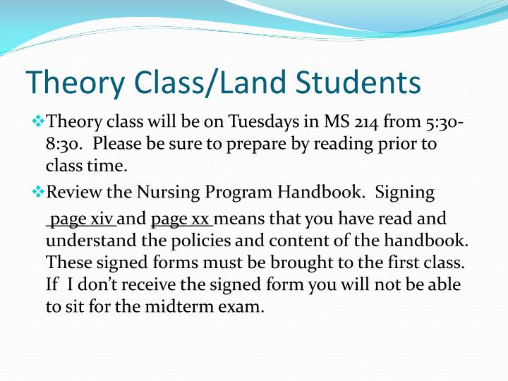 Theory Class/Land Students