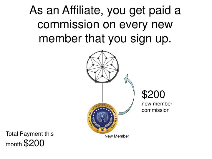 As an Affiliate, you get paid a commission on every new member that you sign up.