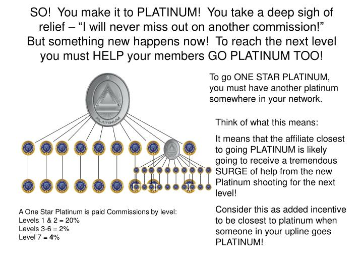 "SO!  You make it to PLATINUM!  You take a deep sigh of relief – ""I will never miss out on another commission!"""