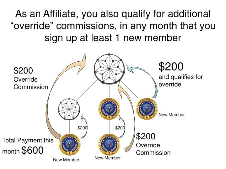 "As an Affiliate, you also qualify for additional ""override"" commissions, in any month that you sign up at least 1 new member"