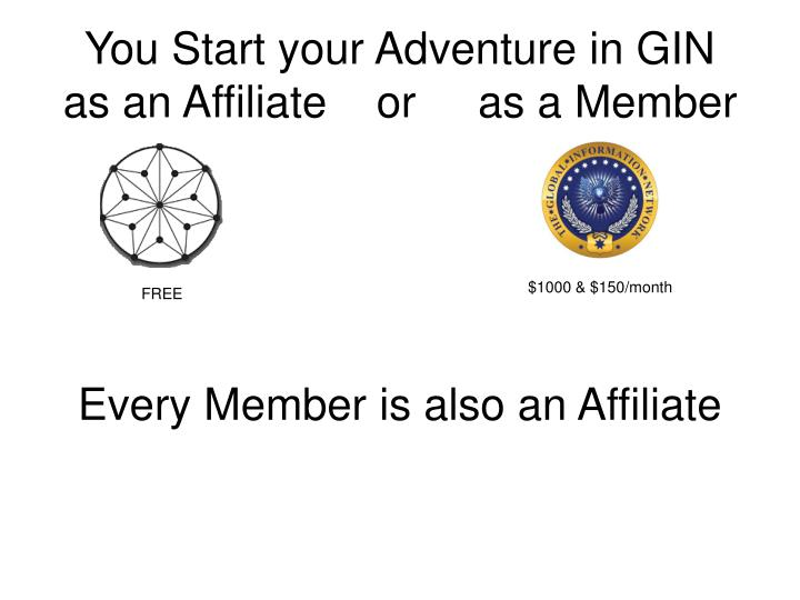 You start your adventure in gin as an affiliate or as a member