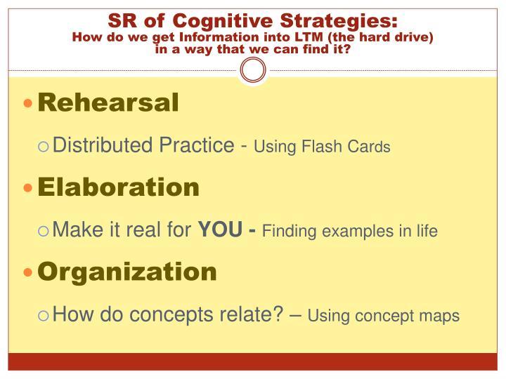 SR of Cognitive Strategies: