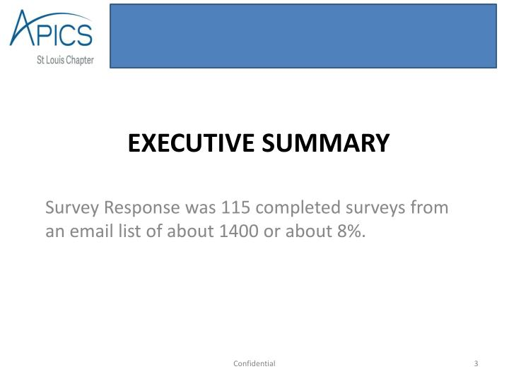 Survey Response was 115 completed surveys from an email list of about 1400 or about 8%.