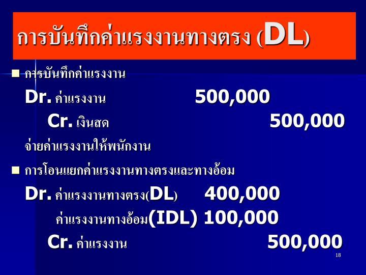 การบันทึกค่าแรงงานทางตรง (