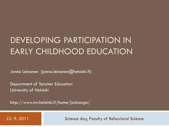 developing participation in early childhood education n.