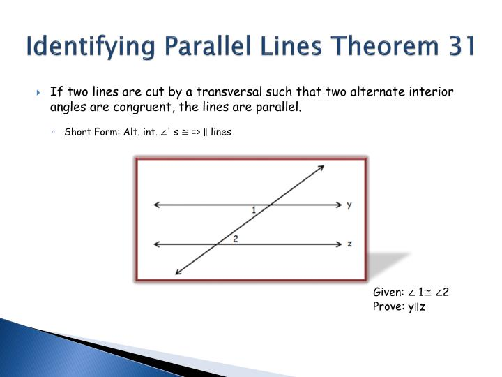 Ppt section 5 2 proving that lines are parallel powerpoint presentation id 6384802 for Alternate exterior angles conjecture
