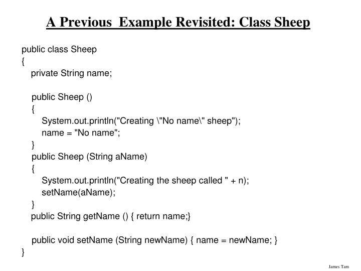 A Previous  Example Revisited: Class Sheep