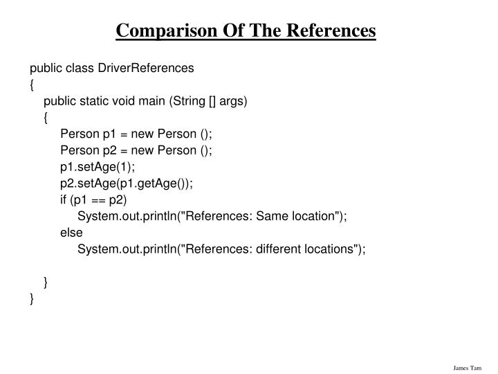 Comparison Of The References
