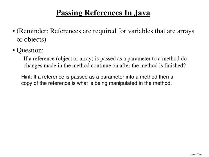 Passing References In Java