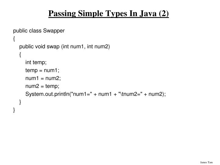 Passing Simple Types In Java (2)
