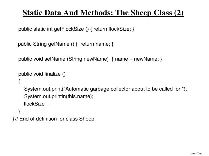 Static Data And Methods: The Sheep Class (2)