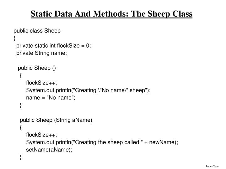 Static Data And Methods: The Sheep Class